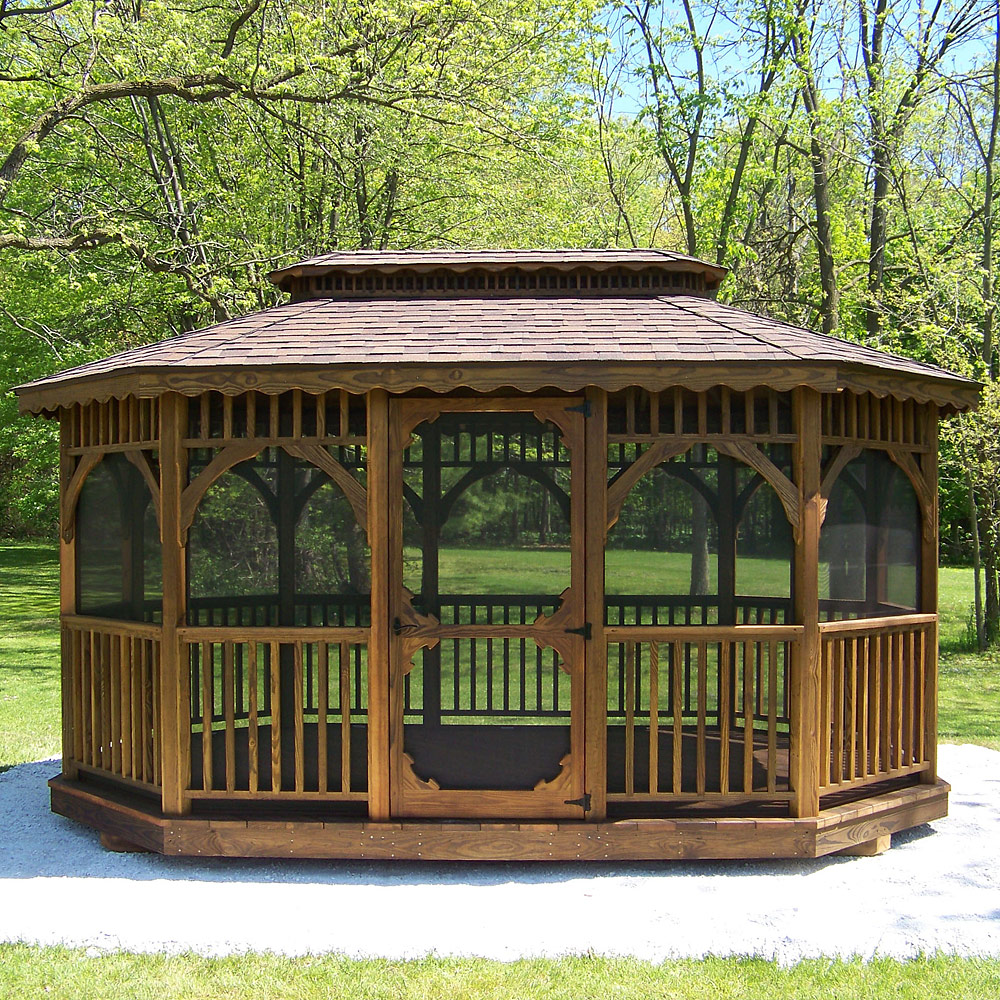 10 X 16 Gazebo With Optional Burnt Sienna Dimensional Shingles And Screening
