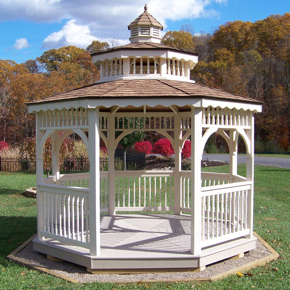 amish vinyl screened patio and garden gazebos kit in 8 16. Black Bedroom Furniture Sets. Home Design Ideas