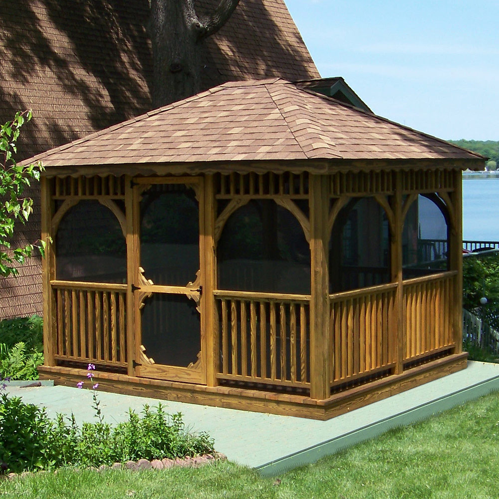 Amish Made Rectangle Screened Garden Gazebo Kits In A Wide