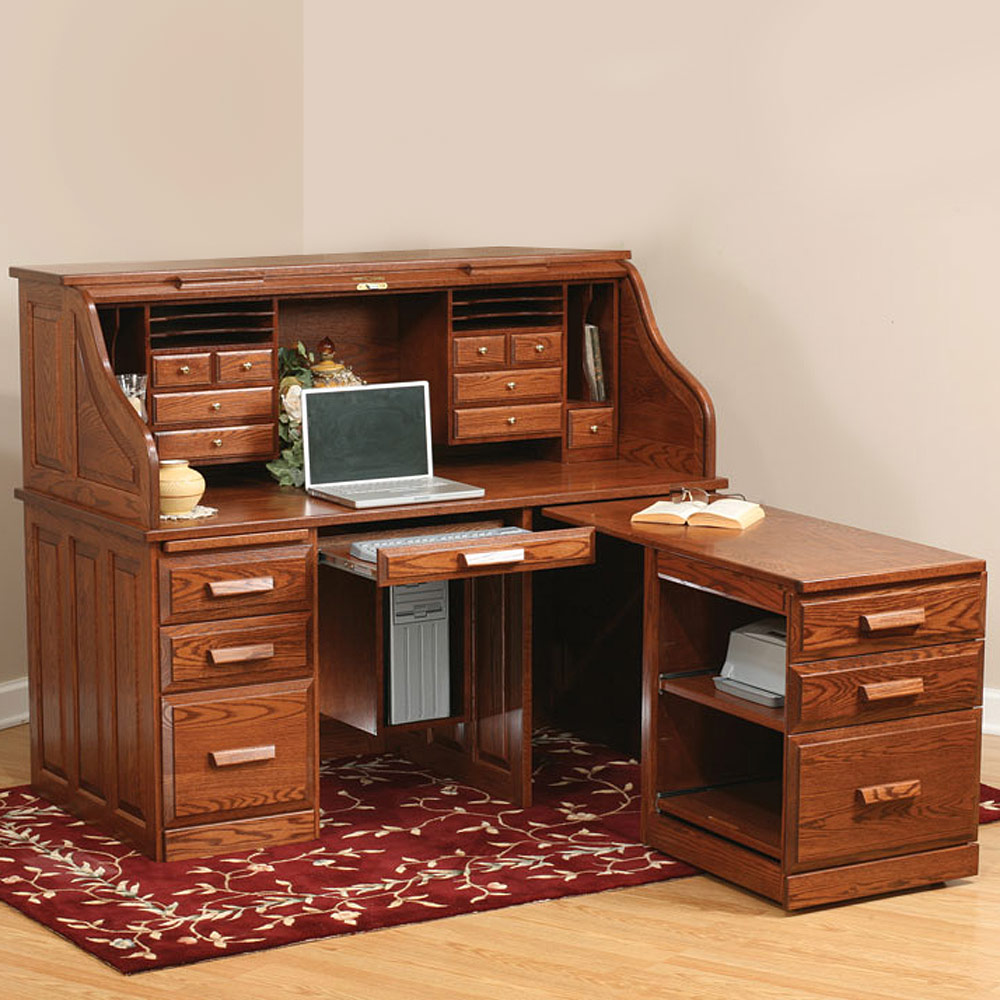 Rhodes Roll Top Desk With Pull Out Return Amish Desk