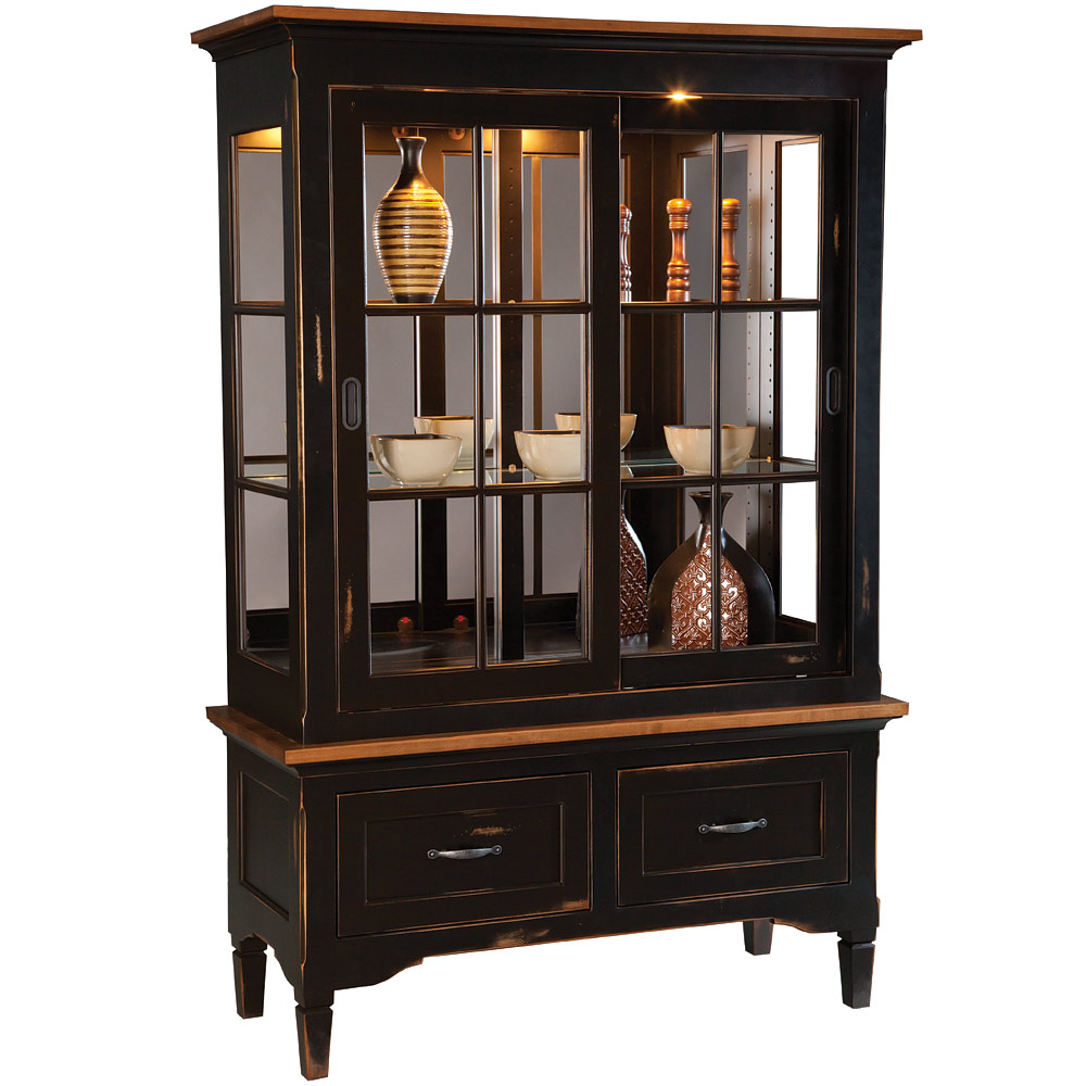 dining room display cabinet or kitchen china cabinet glass sliding doors mirrored westcott. Black Bedroom Furniture Sets. Home Design Ideas