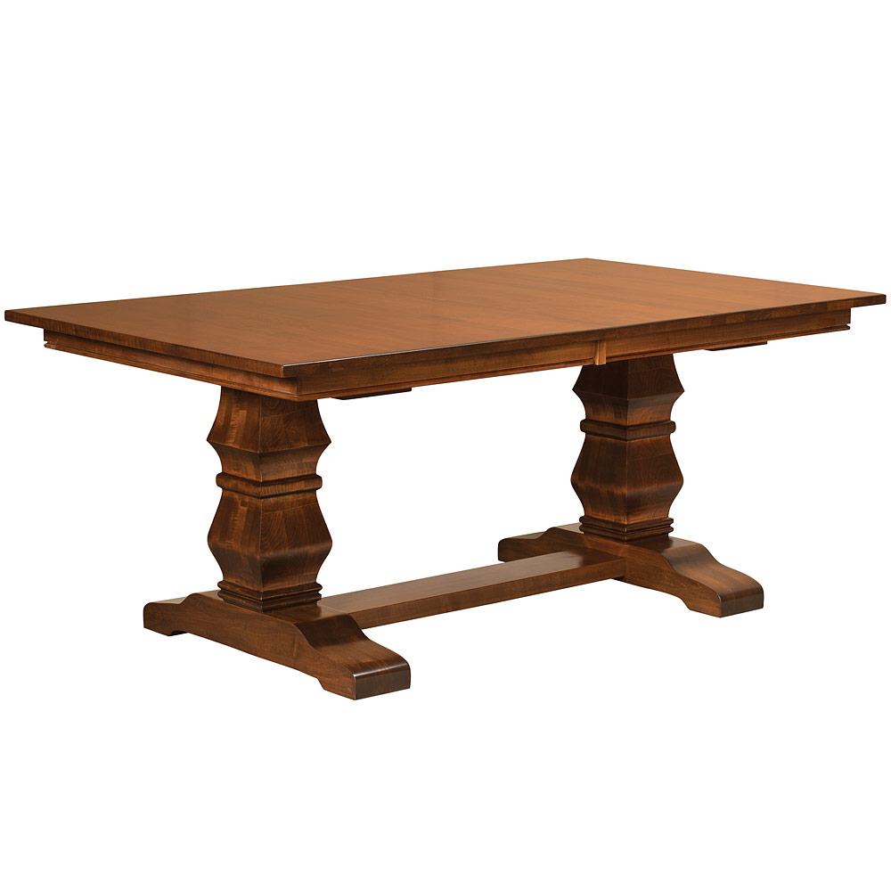 Walden trestle amish table amish dining room furniture for Trestle dining table