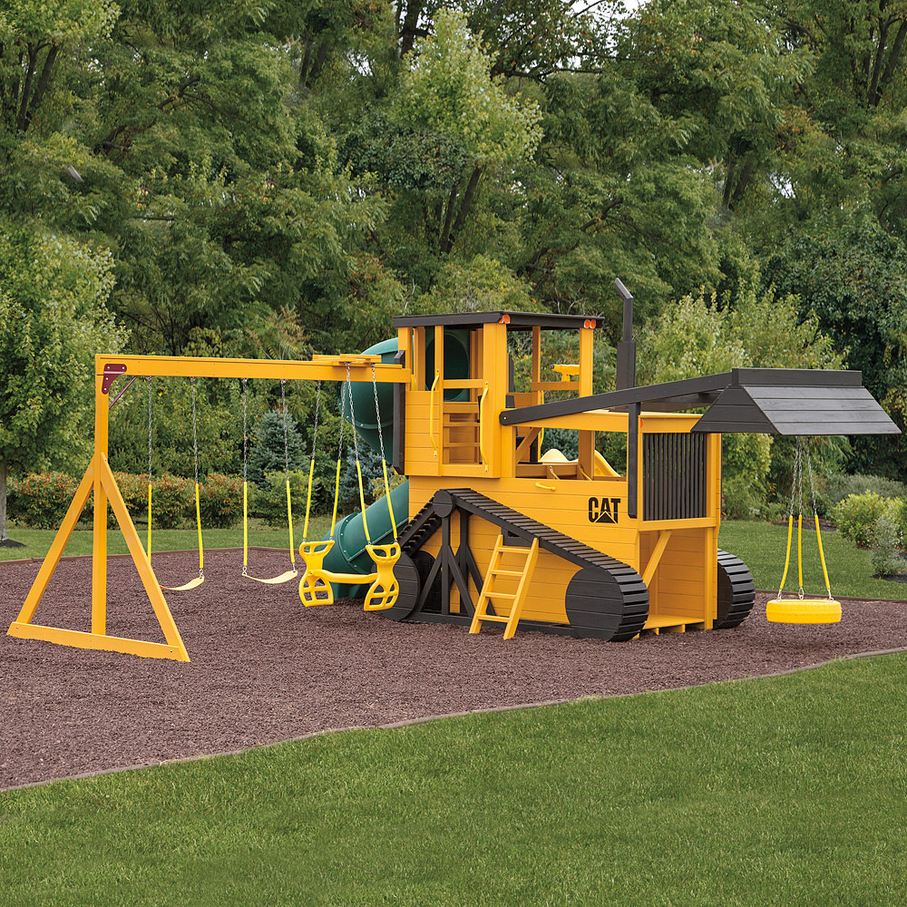 Bulldozer Amish Swing Set Solid Wood Amish Playsets