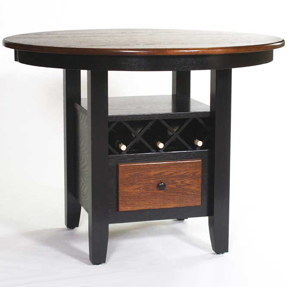 Wine Storage Pub Table Solid Wood Amish Dining Table