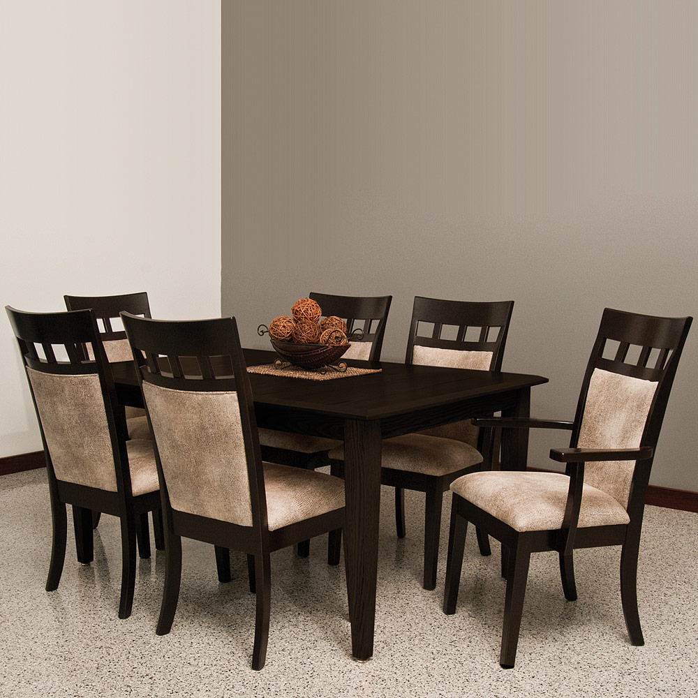 Mckinley amish dining room set 6 amish dining chairs for Fine dining room tables