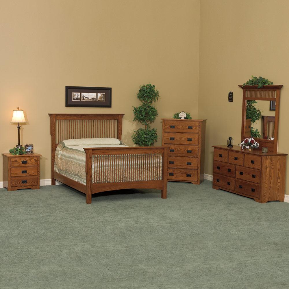 Bedroom furniture set handcrafted in solid wood amish master bedroom suite arts crafts in - Amish bedroom furniture ...