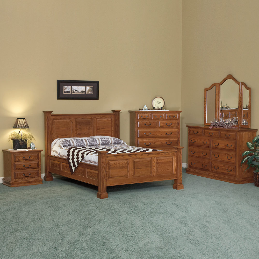 Traditional bedroom set amish solid wood handmade for Amish bedroom furniture