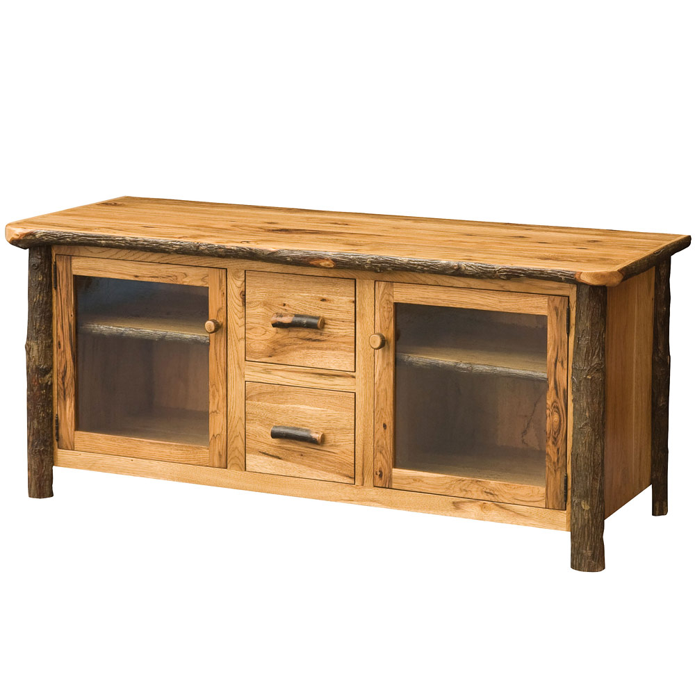 Hickory 60 Amish TV Stand With Optional Tower Units Floating Bridge