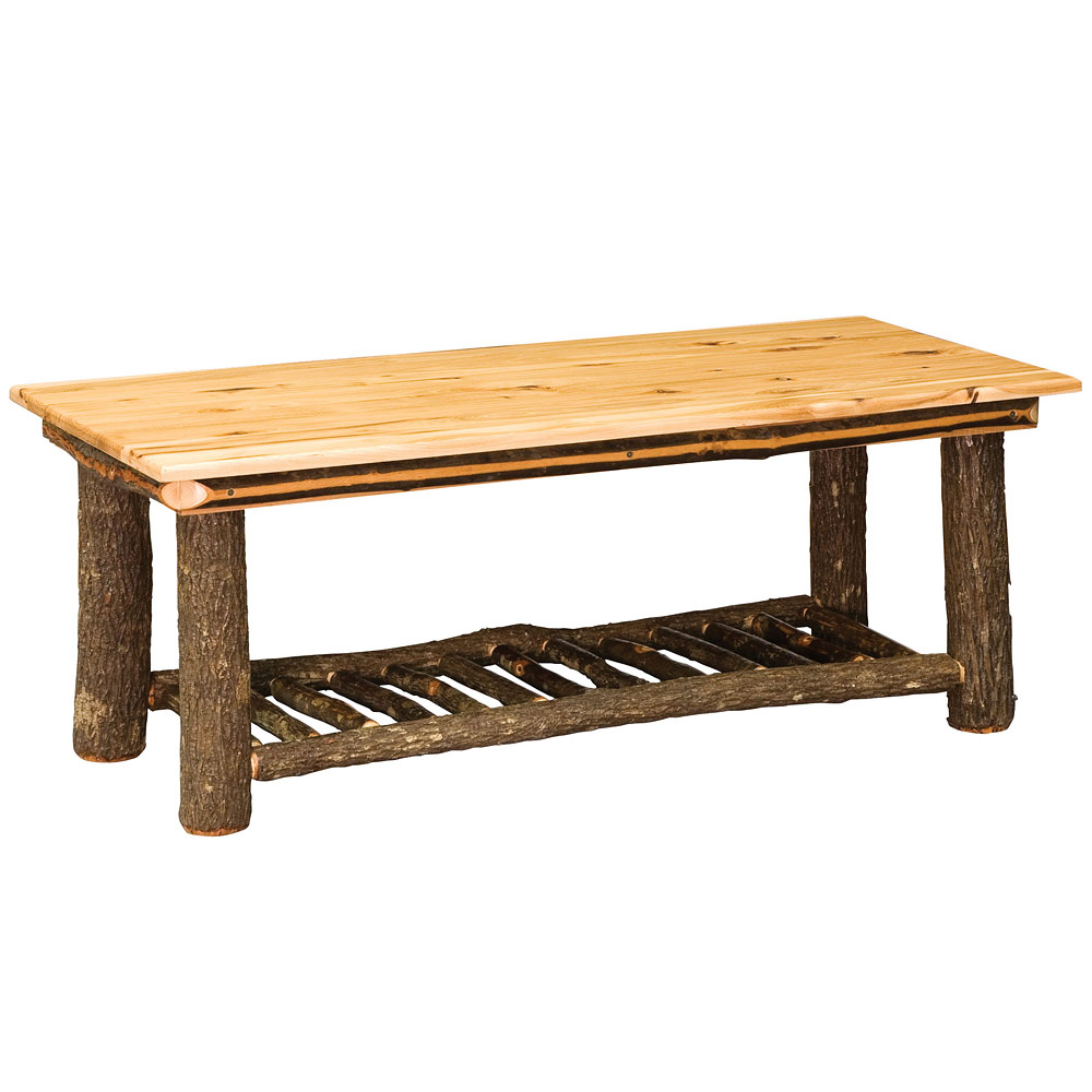 Allegheny ladder base amish coffee table hickory for Ladder coffee table