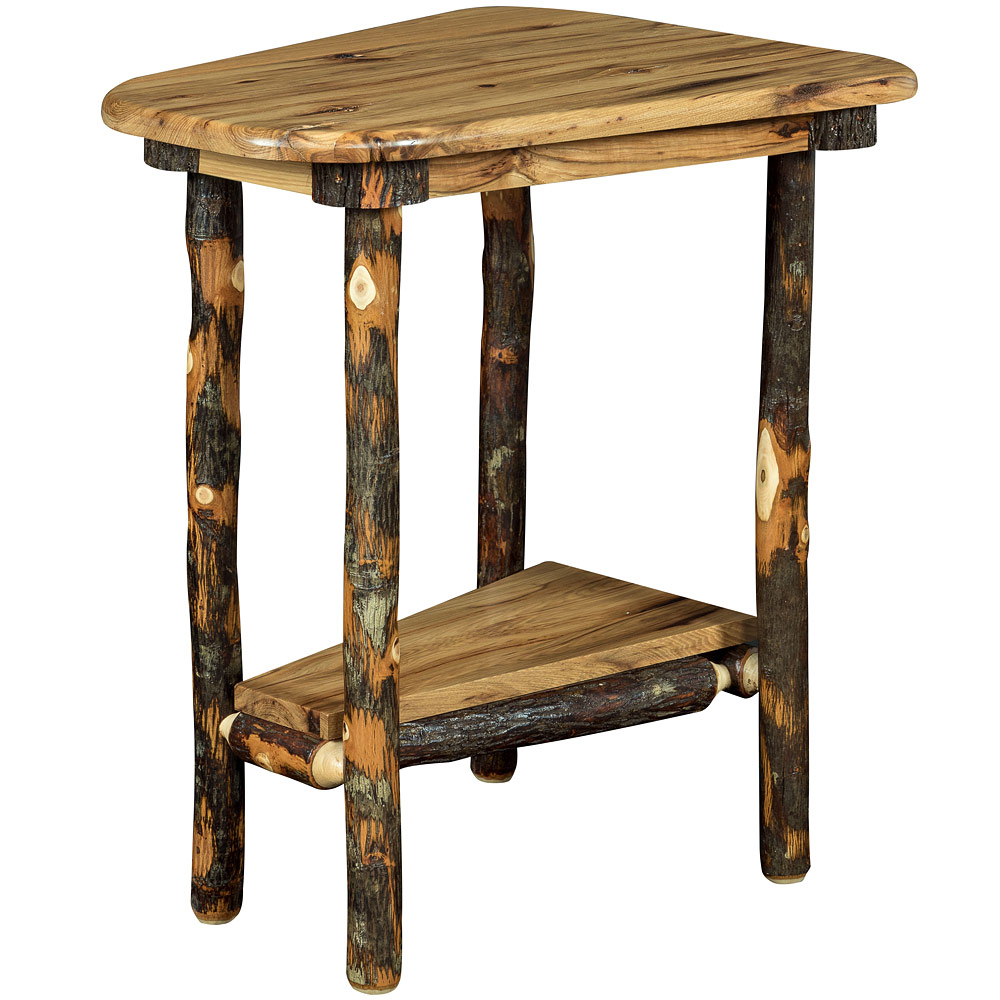 Bearwood Wedge Shaped Amish End Table Log Furniture Cabinfield