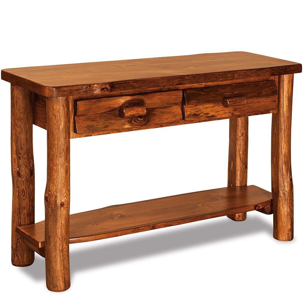 Elkhorn Amish Sofa Table – Rustic Amish Log Furniture | Cabinfield ...
