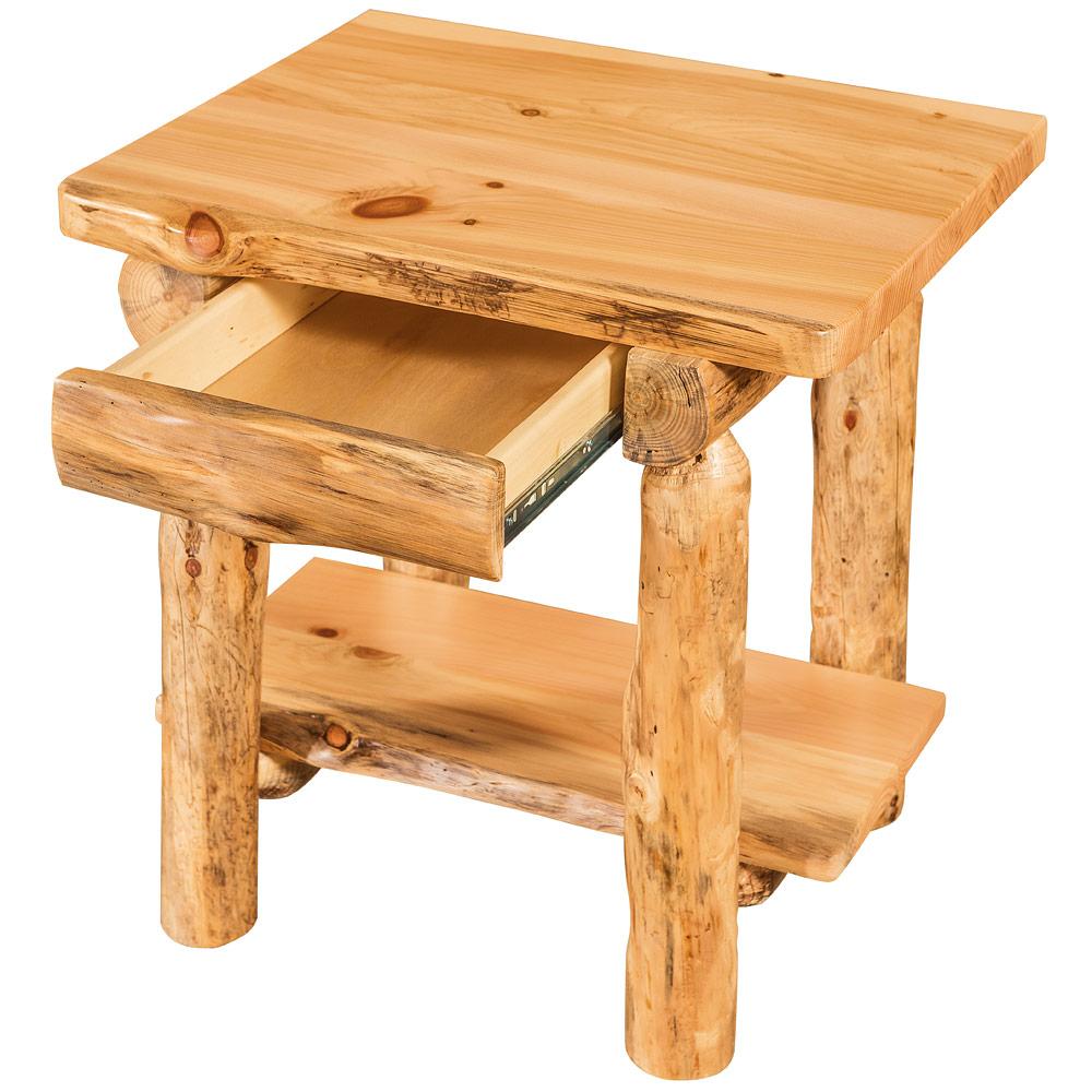 Elkhorn amish end table rustic log furniture
