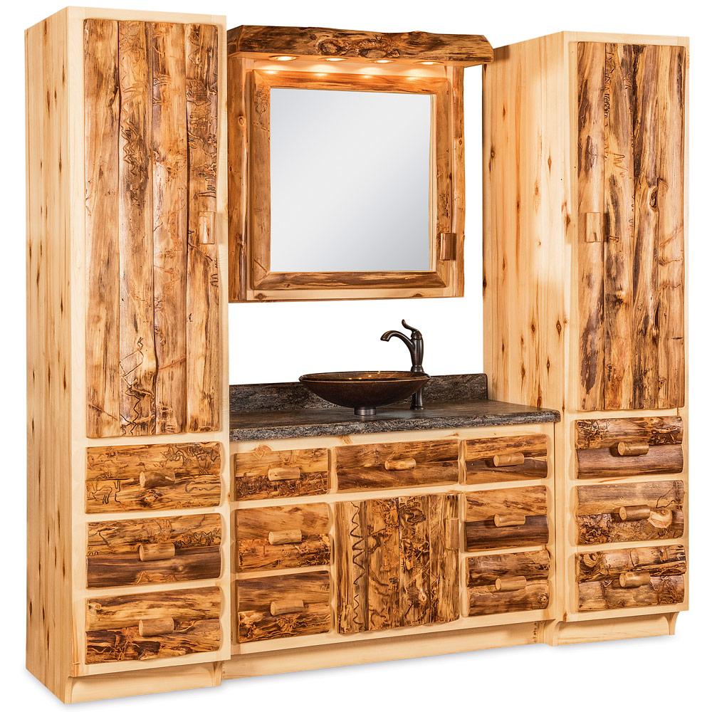 Elkhorn Amish Bathroom Vanity Amish Log Furniture Cabinfield - Amish bathroom vanity