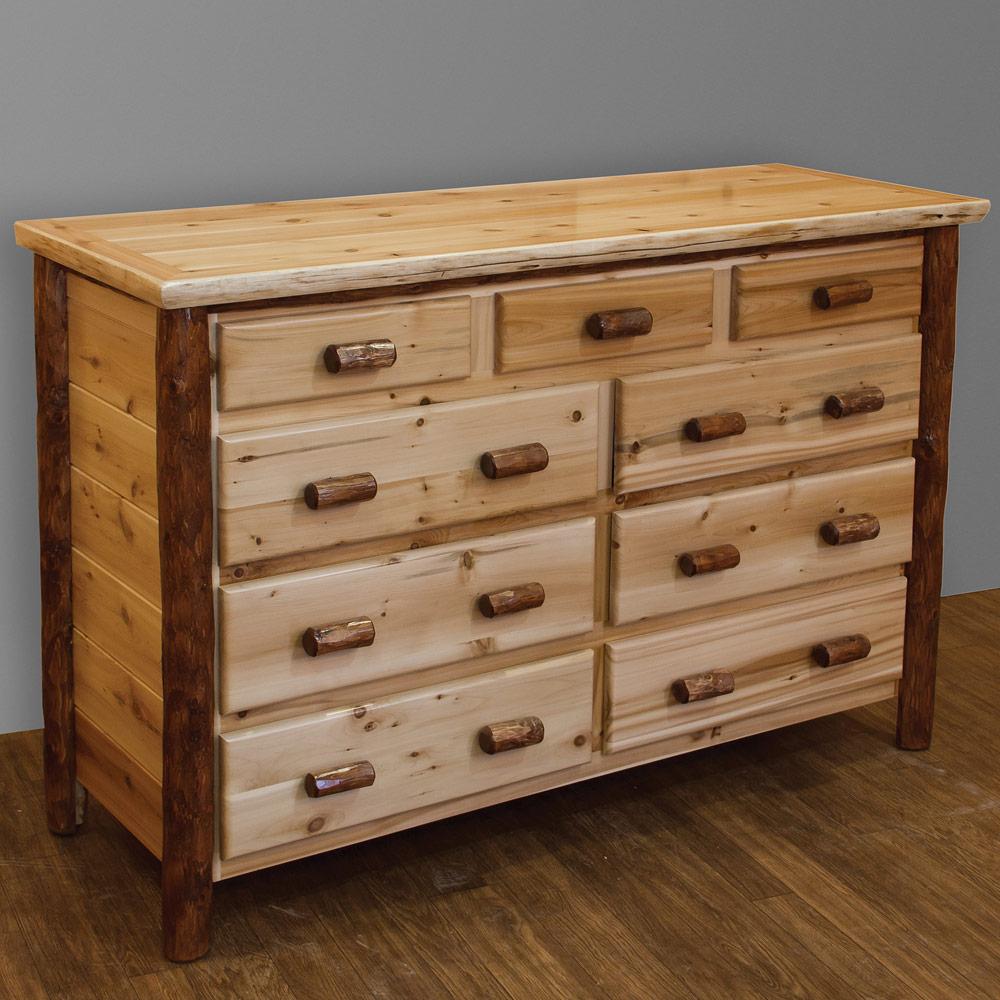 White Cedar Amish Dresser Log Furniture Cabinfield Fine