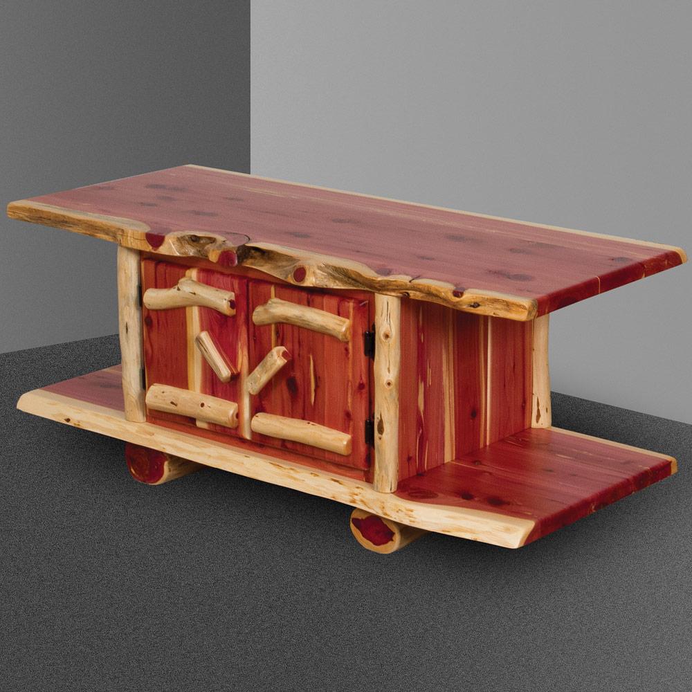 Red Cedar Rustic Amish Coffee Table Log Furniture Cabinfield