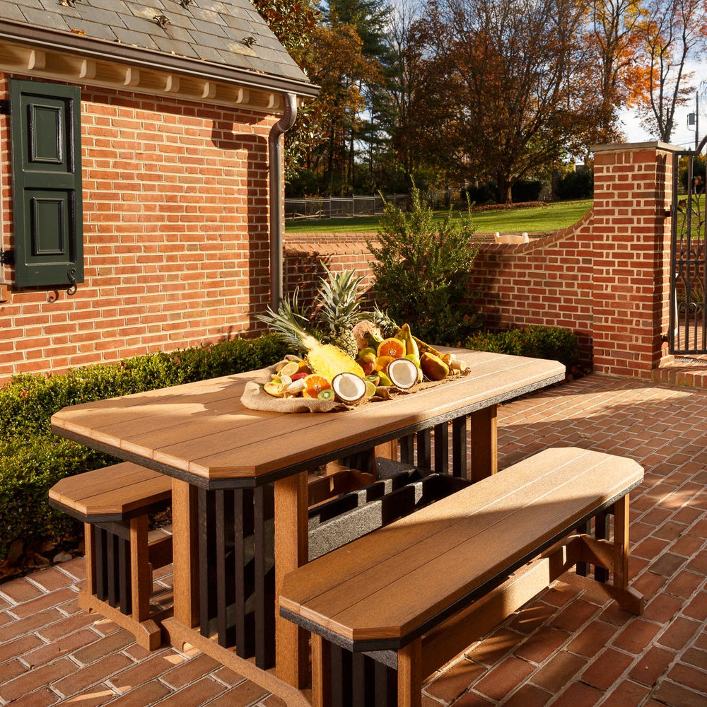 Mission Amish Outdoor Table With Benches Patio Set Cabinfield