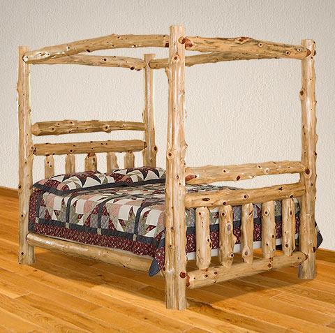Elkhorn Vista Canopy Bed - Amish Log Beds - Elkhorn Vista Canopy Bed - Rustic Bedroom Furniture