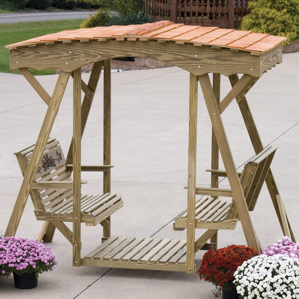 Amish Outdoor Swing Amp Roof Wooden Swing Outdoor Glider
