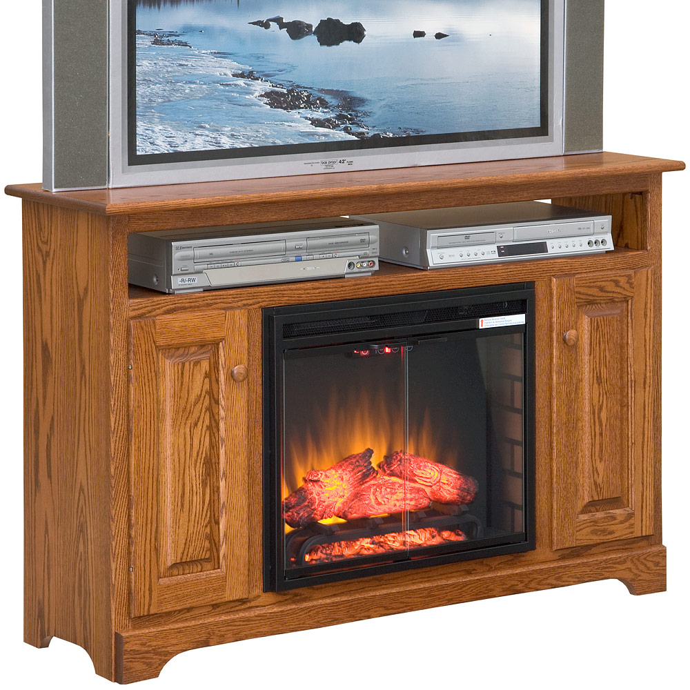 tv stand with fireplace and hutch