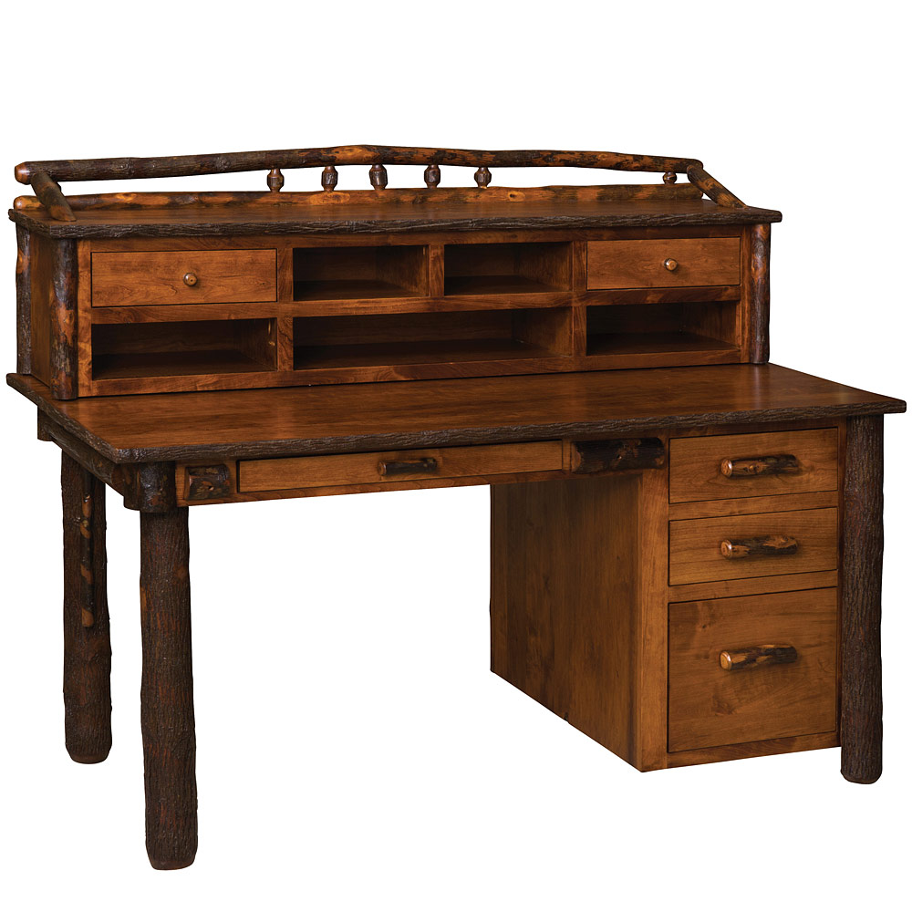Amish Hickory Office Desks Hickory Secretary Desk With Hutch Rustic Office Furniture