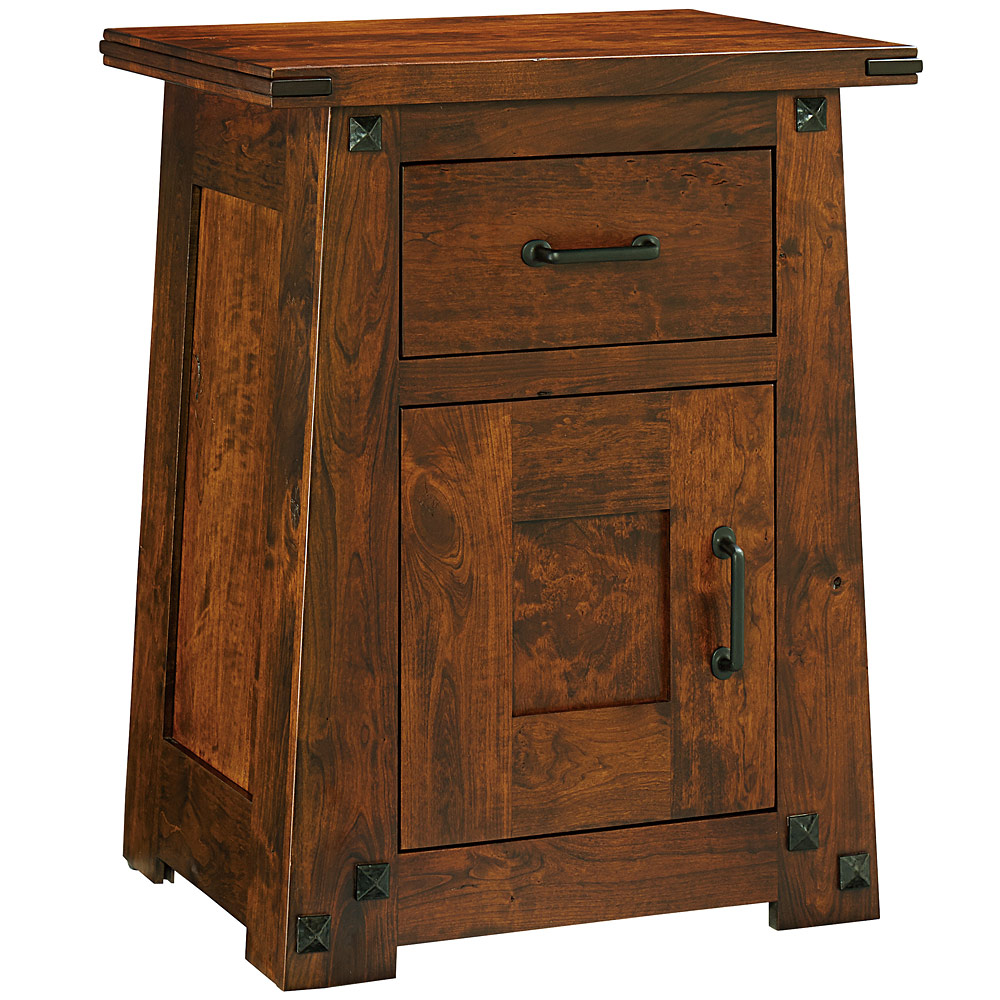 Nightstand tall 1 door mission style bedside table solid for Tall rustic nightstands
