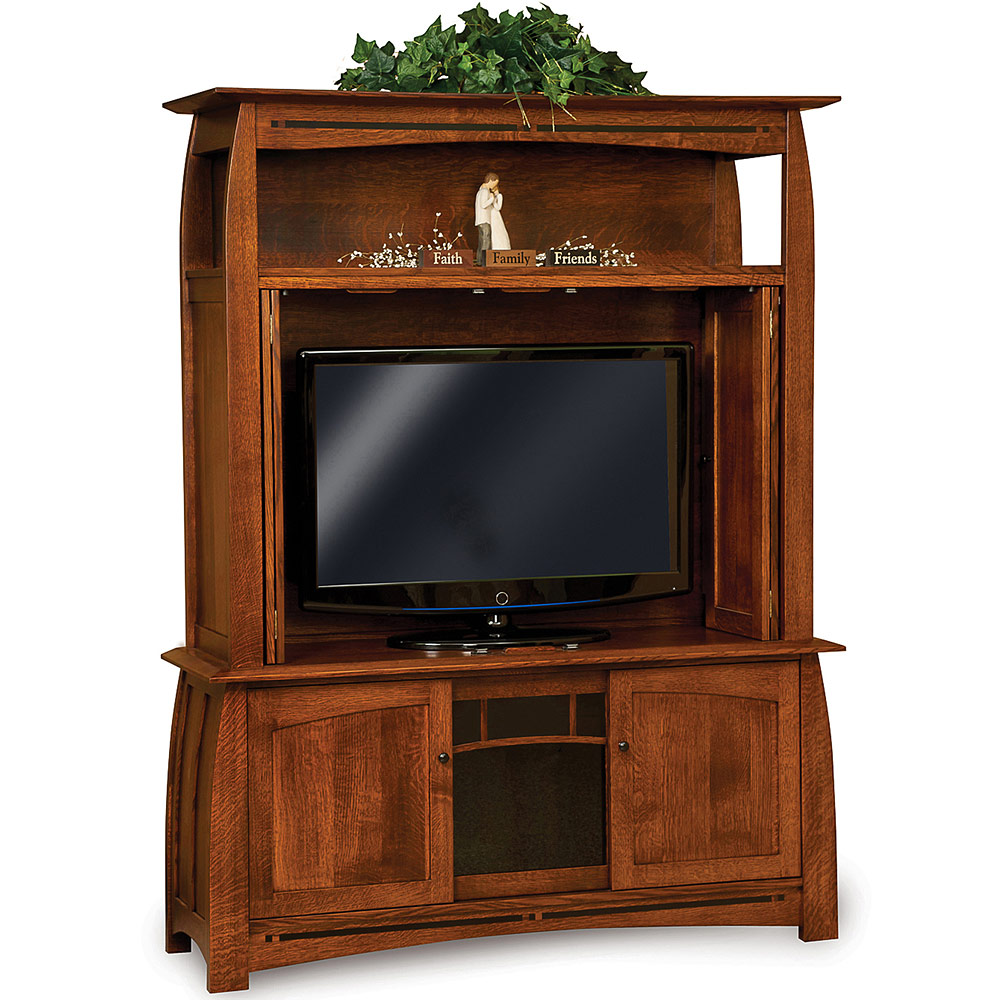 Amish mission style tv media stand boulder creek 63 w for Media stands and cabinets