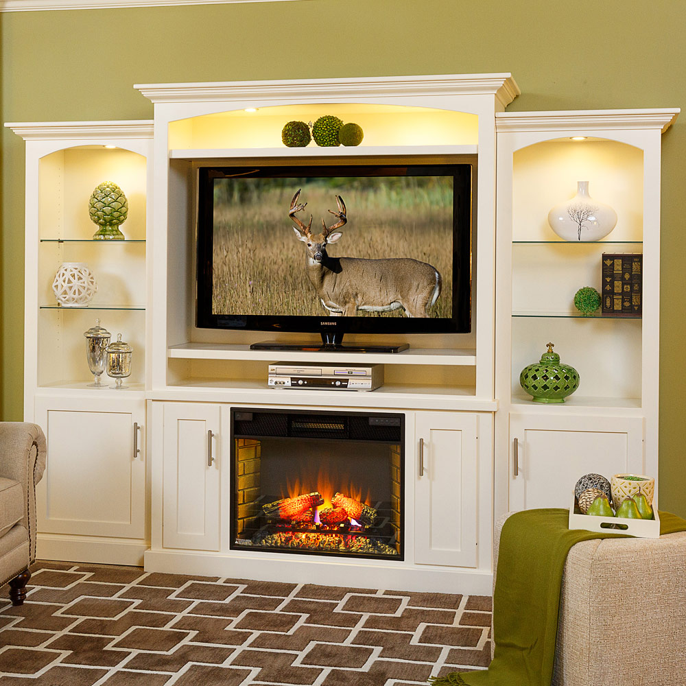 Brighten up your Amish living room furniture set with this Mayfair Amish entertainment center. Featuring a glowing fireplace and well lit shelving.