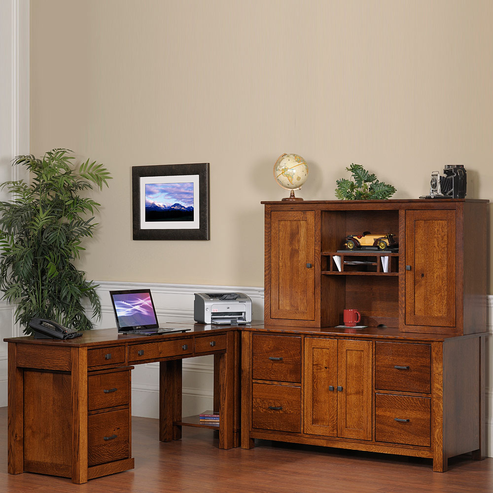 L shaped desk system solid wood credenza with hutch printer stand handmade mission modular - Home office modular furniture collections ...