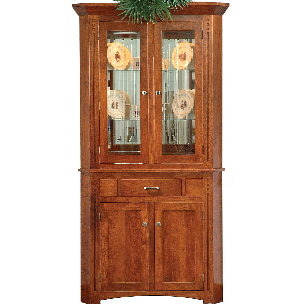 Amish mission style hutches roseville corner hutch for Mission style corner hutch