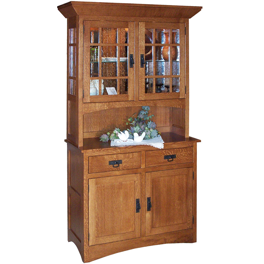 Buffet tables optional hutch amish sideboard servers for Mission style corner hutch