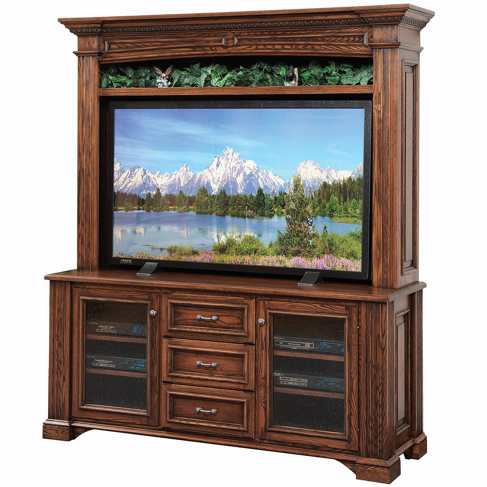 Amish tv media stand lincoln large tv console for Media stands and cabinets