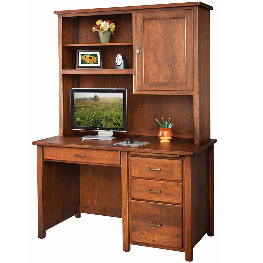 Eshton Computer Amish Desk & Bookcase Hutch