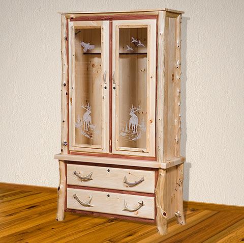 amish log gun cabinet - elkhorn vista gun cabinet with etched & Wood Gun Cabinet With Etched Glass u2013 Home Image Ideas