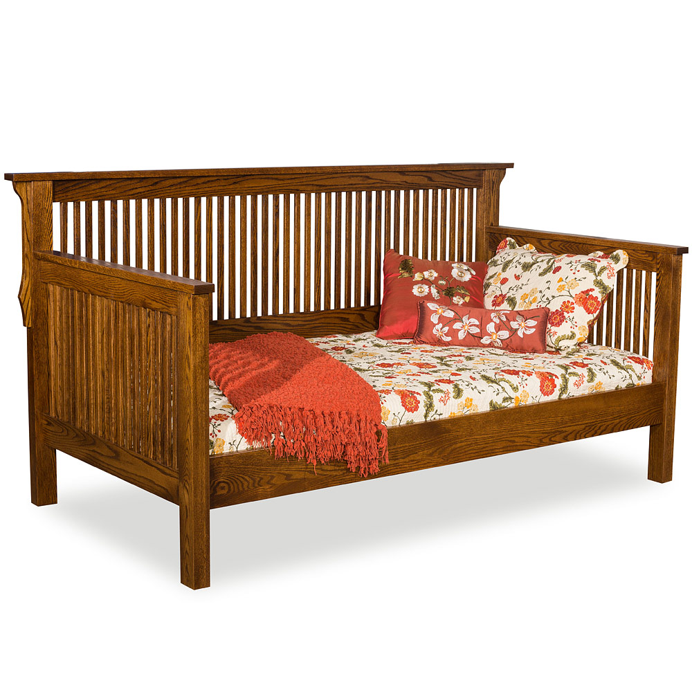 Handmade solid wood amish mission daybed with trundle option for Arts and crafts daybed