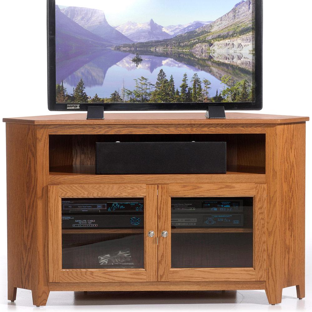Amish Media Stand Linden Glass Door Corner TV Cabinet Solid Wood Media Unit